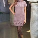 Вязанные платья: Розовое вязаное платье