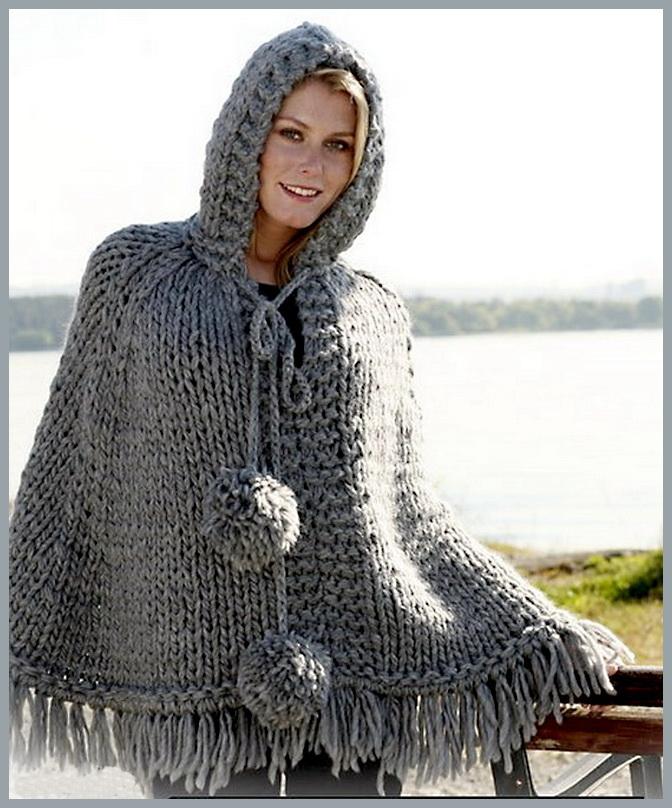 вязаное пончо спицами фото