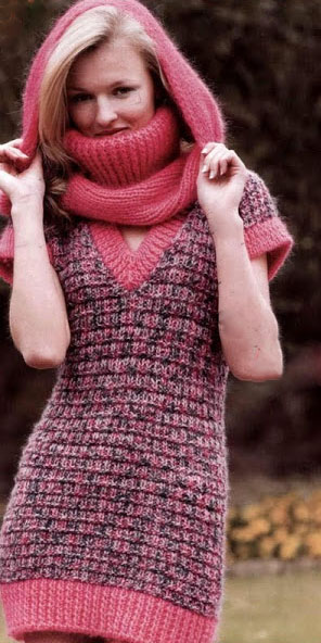 вязаный шарф капор