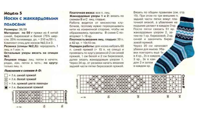 Рисунки при вязании носков 188