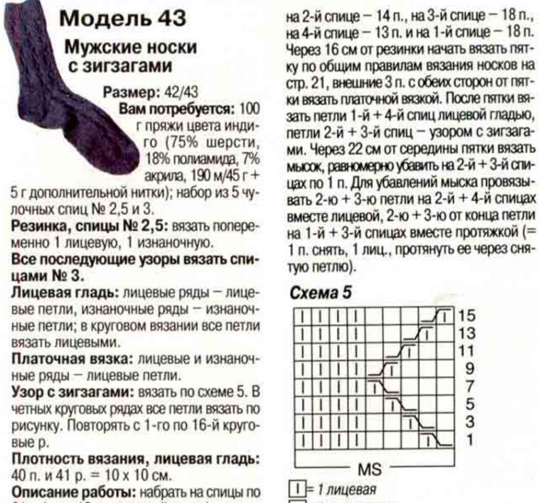 Вязанный носок 43 размера