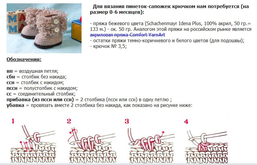 Схема вязания спицами пинеток для малыша