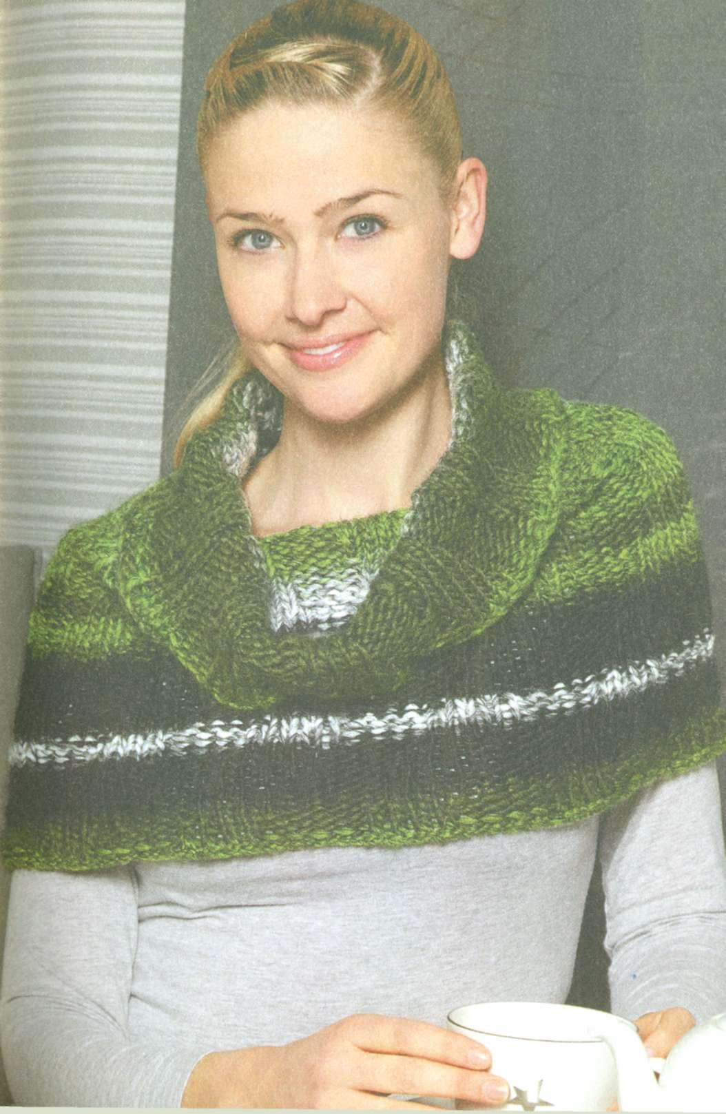 Вязание шарфа труба – трансформер. Шарф превращается в юбку.