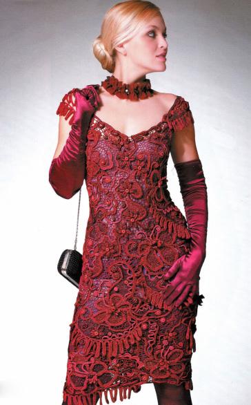 длинное вязаное платье крючком