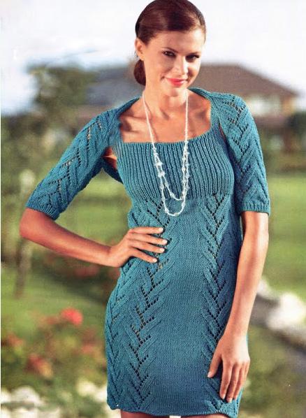 красивые вязаные платья спицами