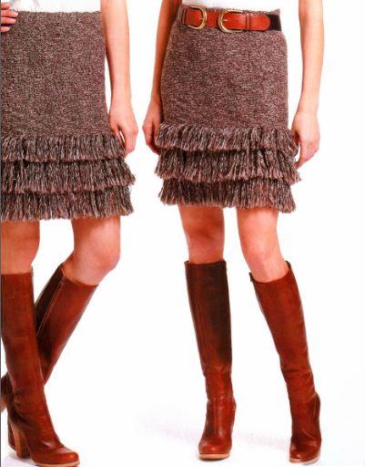 вязание женских юбок спицами