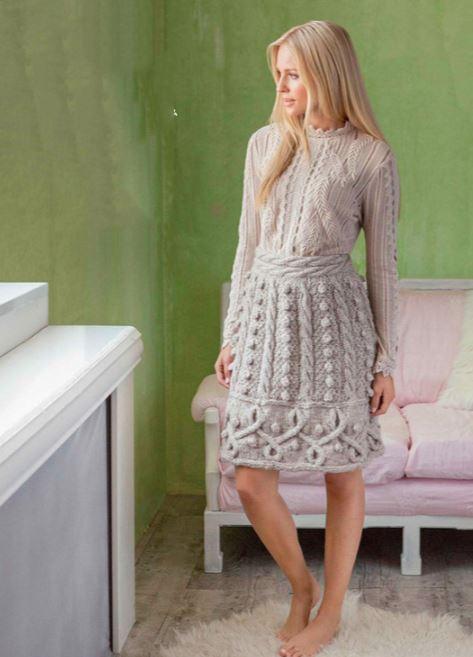 вязание теплой юбки