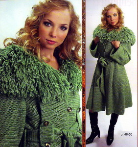 вязаное тёплое пальто