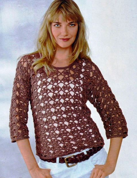 вязаный коричневый пуловер крючком