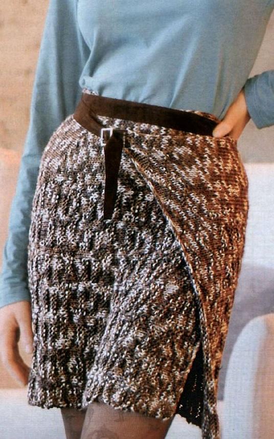 простая вязаная юбка