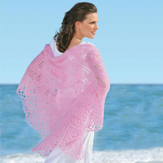 Прекрасные вязаные шали спицами