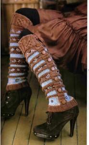 вязаные гетры на сапоги