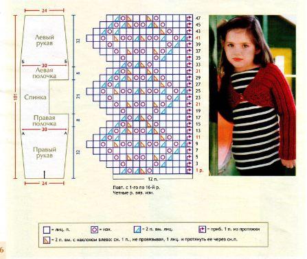вязание спицами детское болеро схема