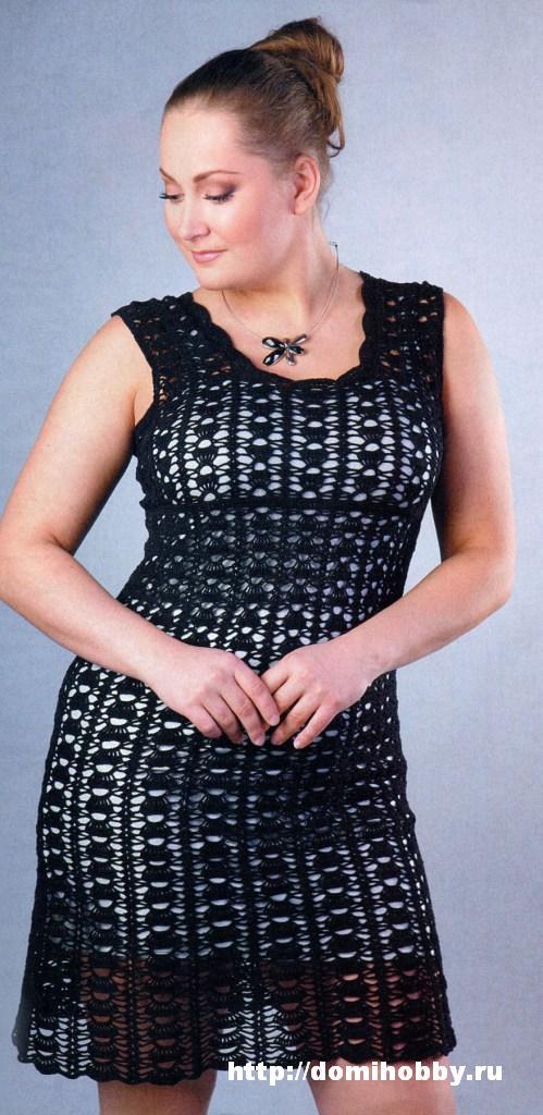 модное чёрное вязаное платье