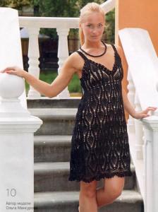 вязаное чёрное платье кючком