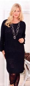 вязаное чёрное платье спицами