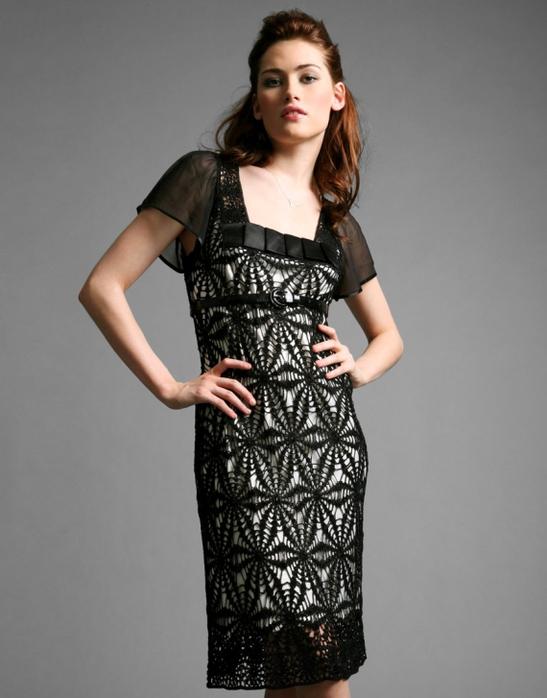 вязаные чёрные ажурны платья