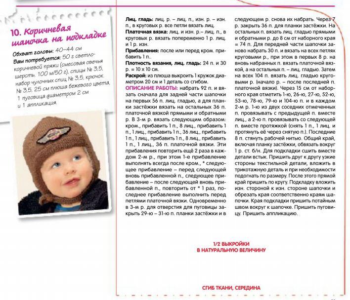 Схемы узоров для детских шапок спицами для мальчиков