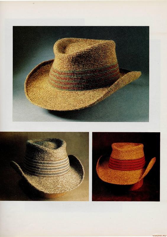 вязаная крючком мужская шляпа 1