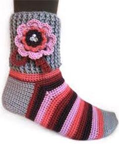 Вязание крючком детские носки
