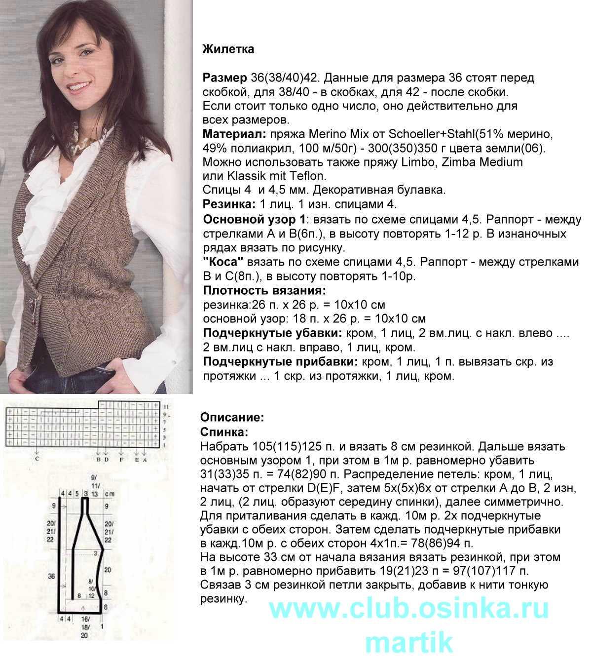 Вязание со схемами и описанием жилет спицы
