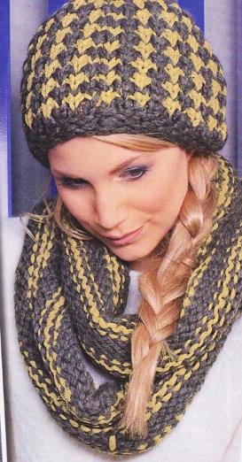 шапки вязаные с шарфиком в комплекте