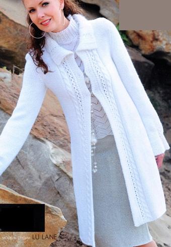 вязание спицами женского кардигана