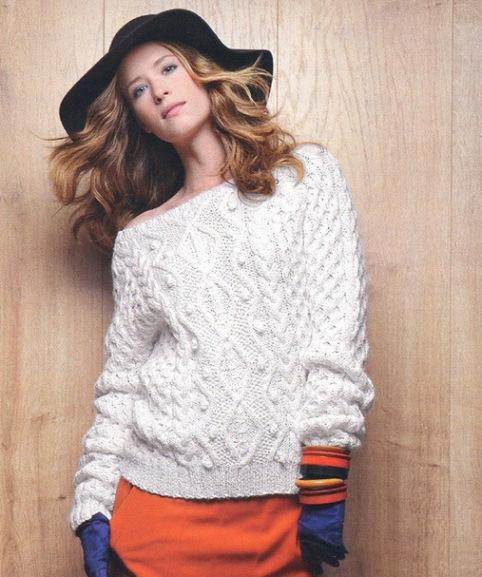 Вязаный свитер женский белый: