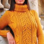 6 моделей свитеров спицами.Вязаный свитер женский всегда в моде