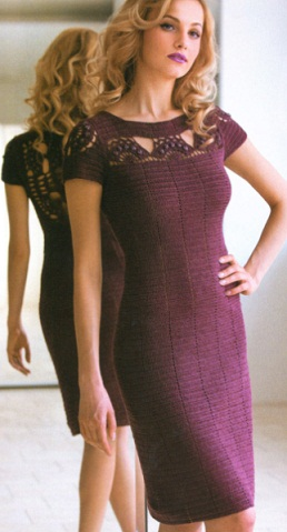 Вяжем фиолетовое платье