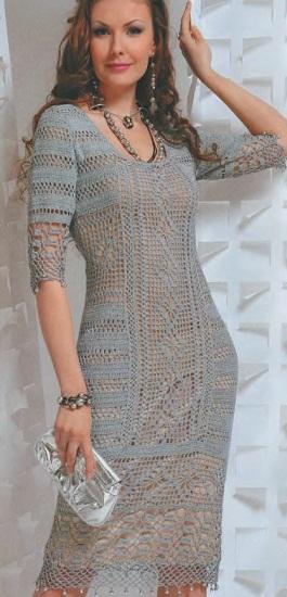 Описания вязания платья:
