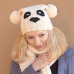 Шапка панда — схема вязания 3-х моделей шапок