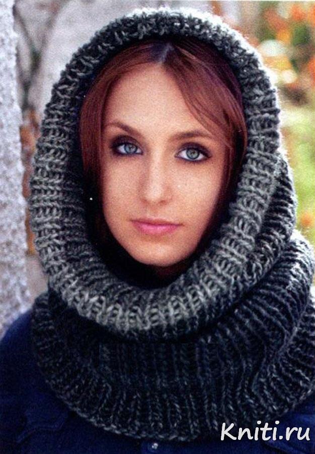 шарф хомут схема вязания спицами для начинающих