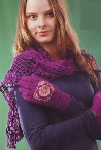 вязание перчаток на спицах фиолетового цвета