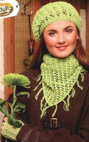 вязание спицами шапки береты