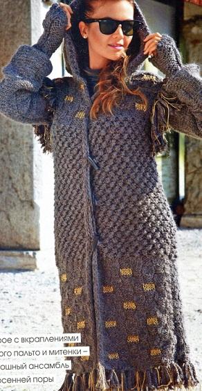 вязаное пальто спицами с капюшоном