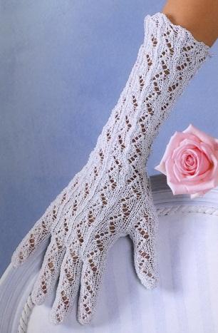 вязаные перчатки ажурные белого цвета