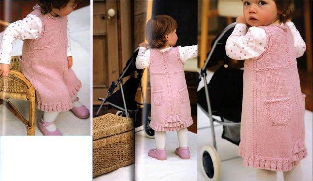 вязаные платья для девочек спицами