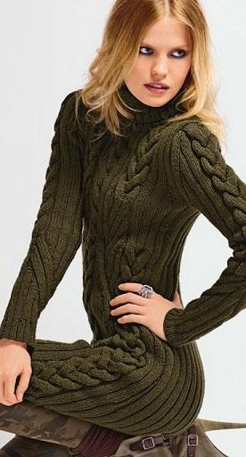 зимние вязаные платья схемы