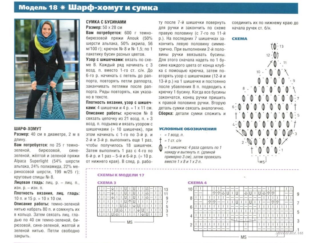 Шарф восьмерки схемы вязания