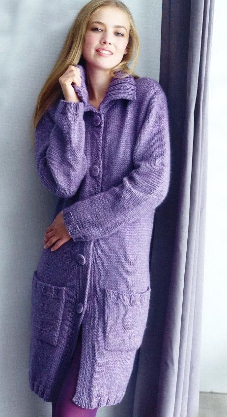 Вязанное пальто для женщин со
