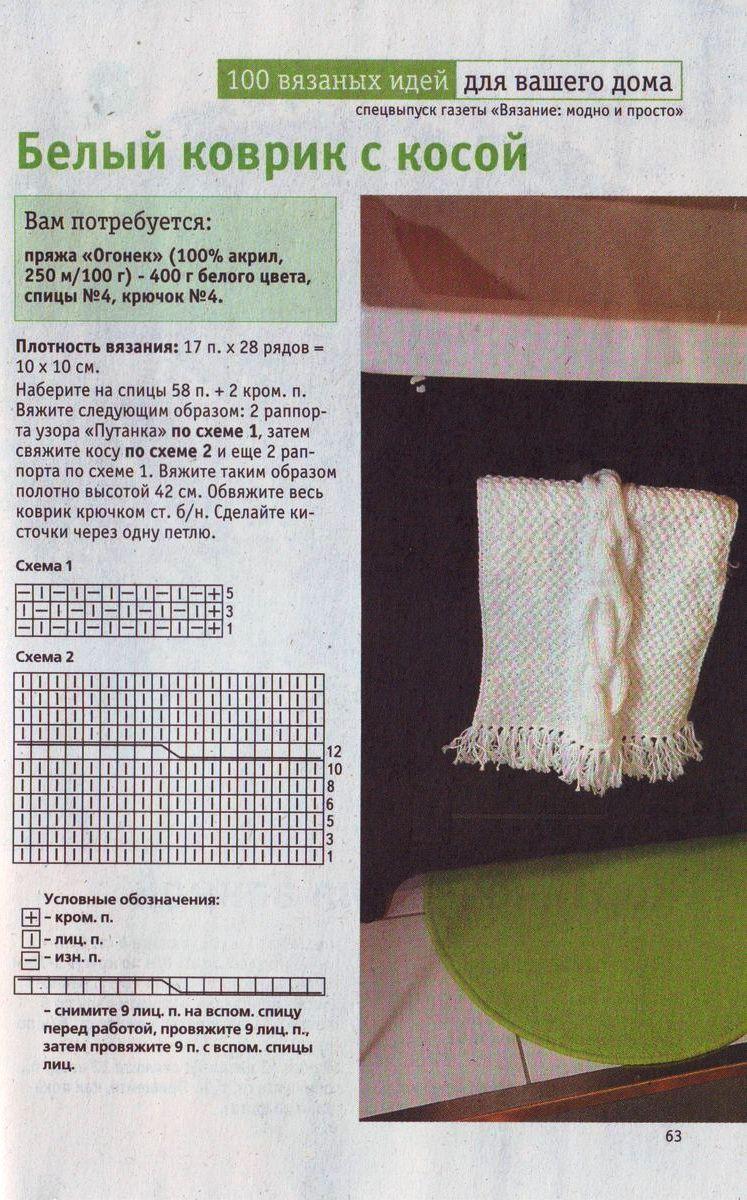 Вязаные коврики для пола своими руками
