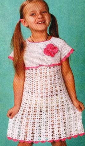 вязание крючком платьев для девочек
