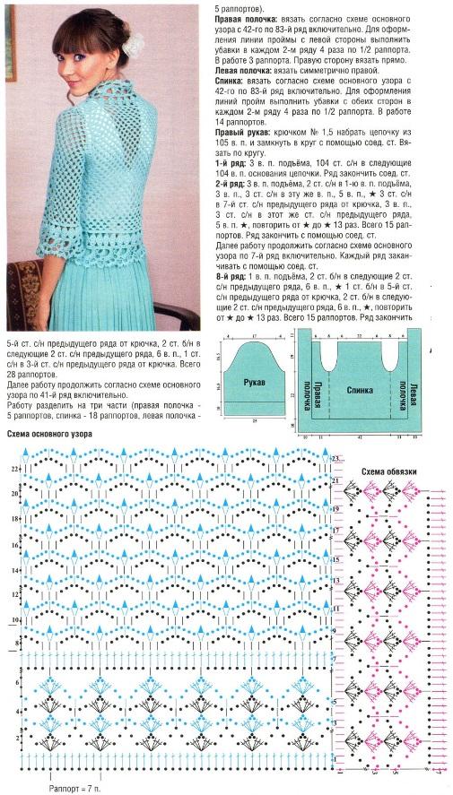Вязание крючком для женщин ажурной жакет