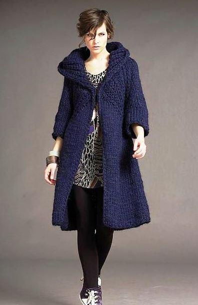 пальто вязаное спицами,