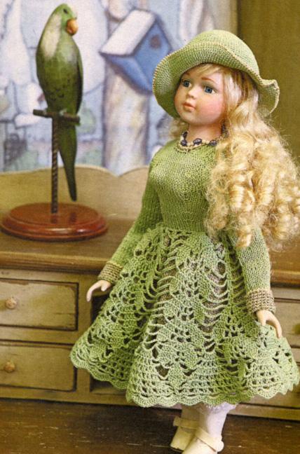 Вязать крючком платье для куклы схема