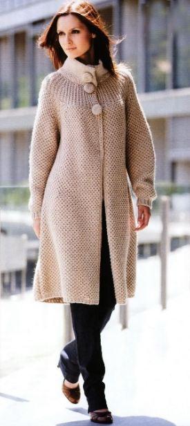 пальто вязаное схемы описание