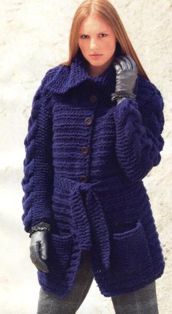 пальто вязаные на спицах