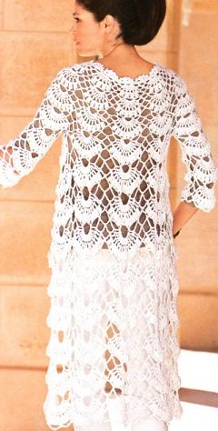 вязаное белое пальто