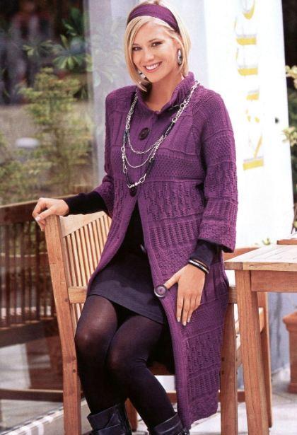вязаное пальто больших размеров